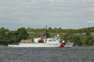 42617510 - new york - may 20, 2015: us coast guard cutter spencer of the united states coast guard during parade of ships at fleet week 2015 in new york harbor.